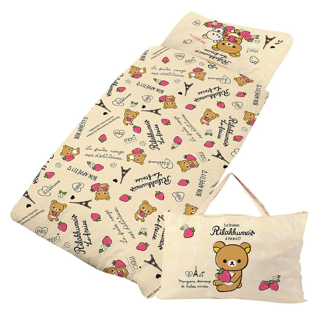 拉拉熊 巴黎草莓系列-精梳棉鋪棉冬夏兩用兒童睡袋
