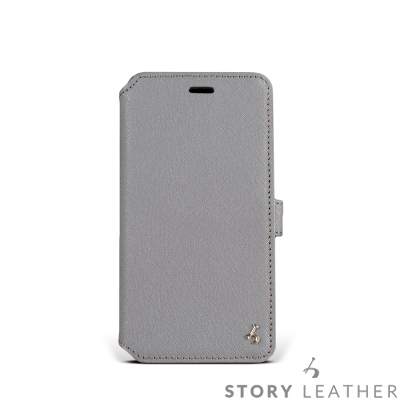 STORYLEATHER i7 / i8 4.7吋 硬殼式側翻 淺藍灰現貨皮套