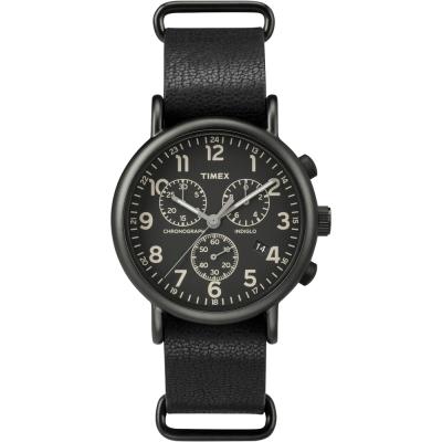TIMEX 復古美式文學休閒腕錶-黑/ 40 mm