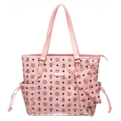 【XINWEI POLO】奢華LOGO風雙側口袋抽繩包附零錢包(8129)-粉色