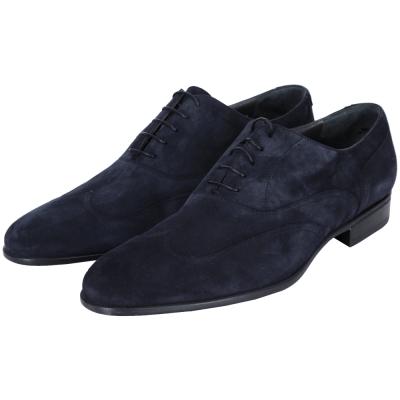 MORESCHI 麂皮綁帶牛津鞋(男款/深藍色)