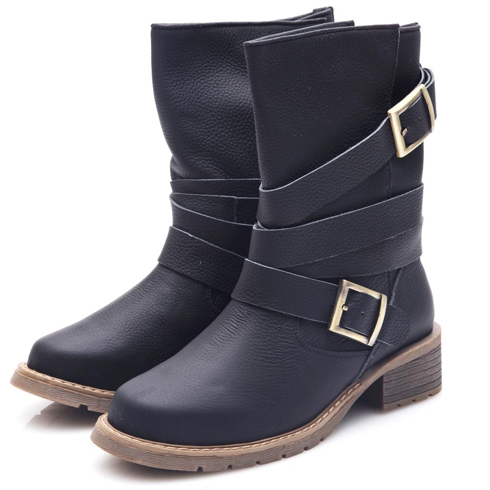 G.Ms. 牛皮金屬釦皮帶中筒機車工程靴-黑色
