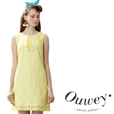 OUWEY歐薇 胸前荷葉裝飾蕾絲背心洋裝
