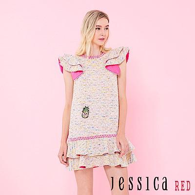 JESSICA RED - 小法式俏麗荷葉造型洋裝(粉)