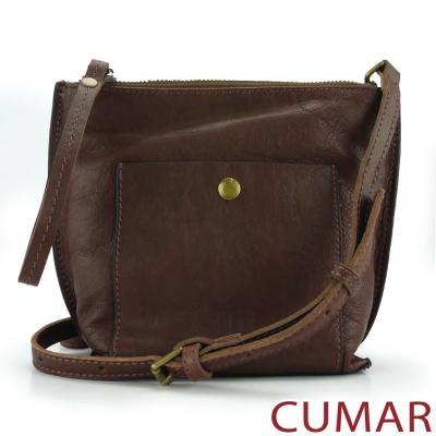CUMAR 植鞣牛皮手拿/斜背兩用小方包-咖啡