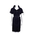 PLEIN SUD JEANIUS 排釦風衣式可反褶七分袖洋裝(附腰帶/黑色)