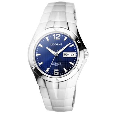 LICORNE 焦點未來都會時尚機械腕錶-銀藍/37mm