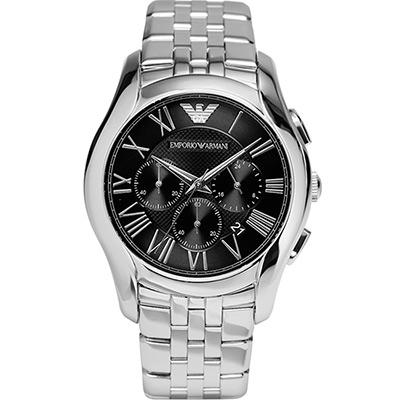 EMPORIO ARMANI 義式風格黑面三眼計時腕表-44mm