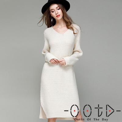 性感V領長袖針織洋裝 (共三色)-OOTD