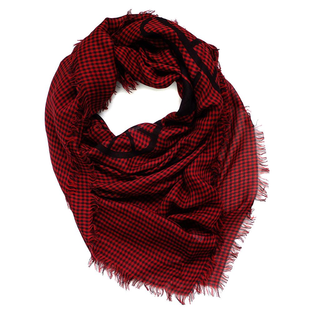 COACH紅黑細格紋馬車大圖披肩式圍巾140x124