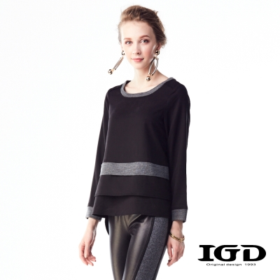 IGD英格麗 天絲棉雙層下擺拼接上衣-黑色