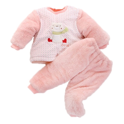 圍巾熊 厚鋪棉寶寶 禦寒套裝-粉 k 60071