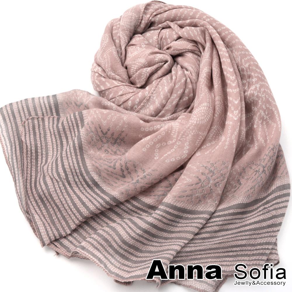 【2件450】AnnaSofia 菲韻映點染 拷克邊韓國棉圍巾披肩(藕粉系)