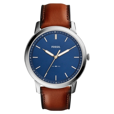FOSSIL Minimalist 薄型簡約手錶-藍x咖啡/ 44 mm