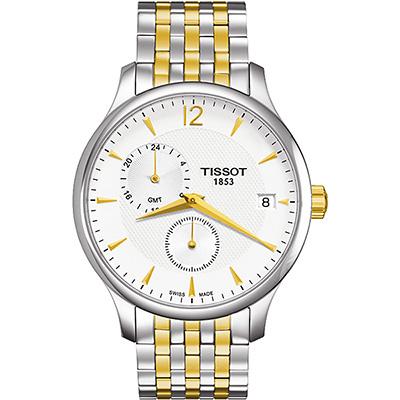 TISSOT Tradition GMT 二地時區經典腕錶-銀x雙色版/42mm T0636392203700