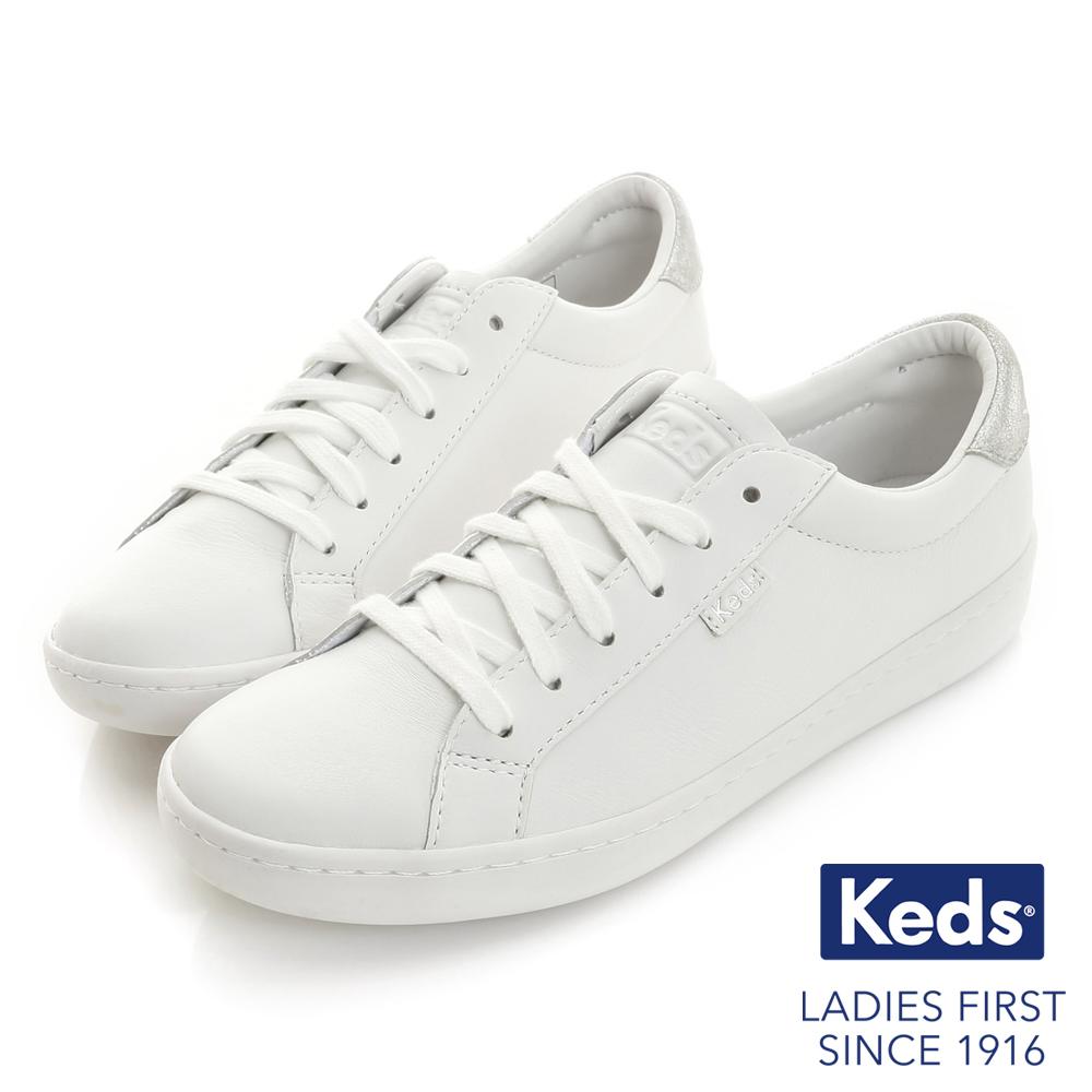 Keds ACE復古運動皮質綁帶休閒鞋-白銀