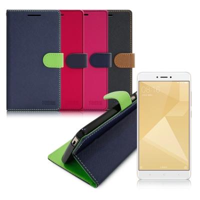 台灣製造 FOCUS 小米 紅米Note 4X 糖果繽紛支架側翻皮套