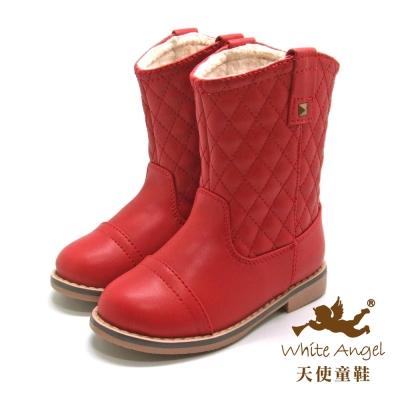 天使童鞋-D0391 時尚格菱紋筒靴(中-大童)-快樂紅