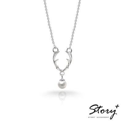 STORY故事銀飾-SNOW系列-Dear麋鹿天然珍珠項鍊 白K金