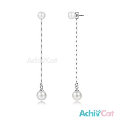 AchiCat兩戴式長耳環925純銀垂墜小珍珠 完美佳人