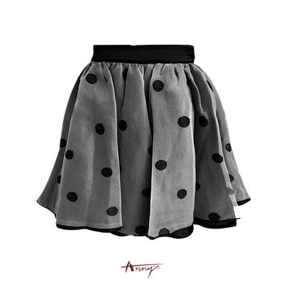 Anny可愛點點網紗段質內裡蓬蓬短裙*8215黑