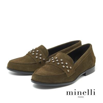 Minelli--西班牙製造 全真皮鉚釘扣飾樂福平底鞋-橄欖綠