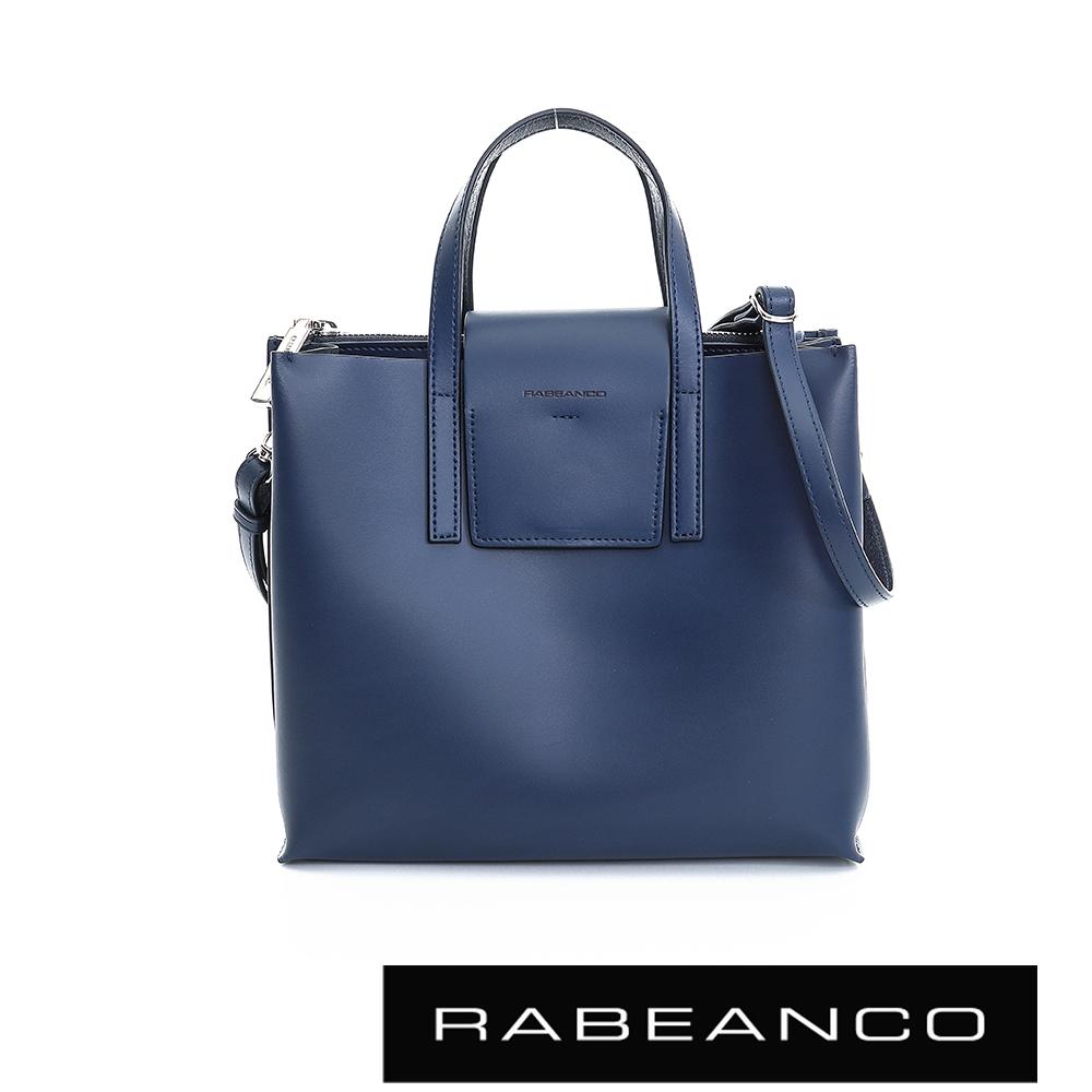 RABEANCO 真牛皮革翻蓋設計肩揹/斜揹方包(大) -深牡丹藍