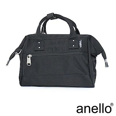 日本正版anello 2WAY厚實絲綾斜紋手提肩背包〈黑色BK〉