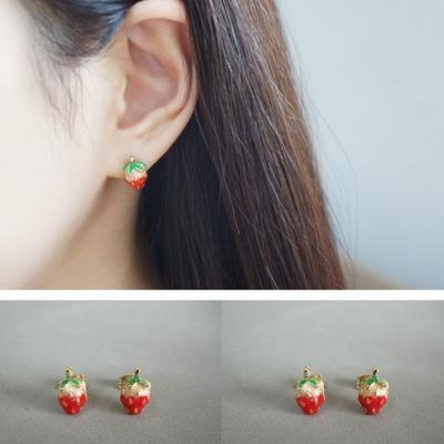 梨花HaNA無耳洞韓國甜蜜幻想草莓女孩耳環夾式