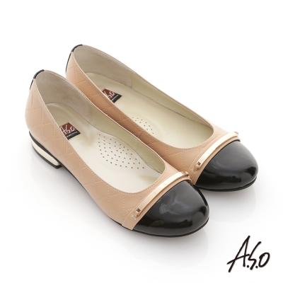 A.S.O 俐落職場 全真皮菱格細金屬飾窩心跟鞋 卡其