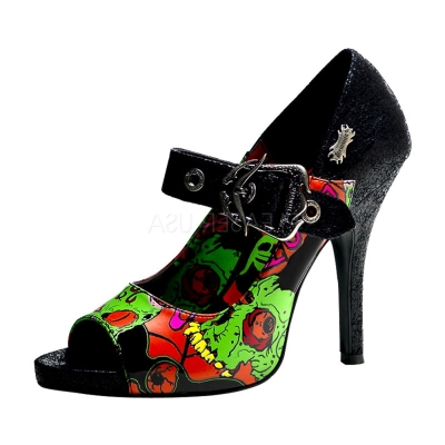 DEMONIA藝術塗鴉魚口跟鞋-綠/黑