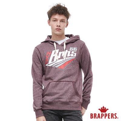BRAPPERS 男款 運動風logo連帽長袖上衣-花紗紅