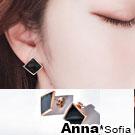 AnnaSofia 幾何圖形 白鋼耳針耳環(弧形方菱-黑金系)