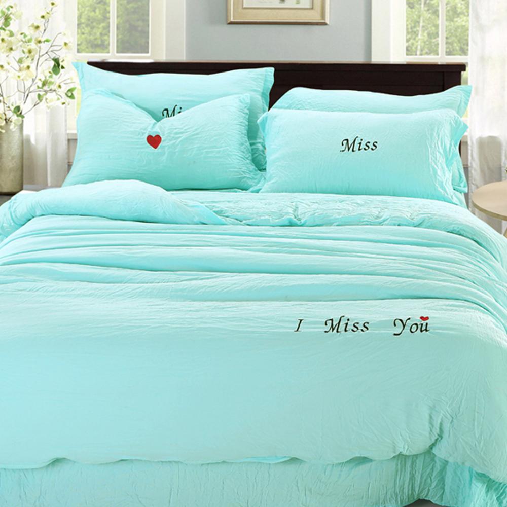 生活提案 - 泡泡棉 雙人被套床包組 - 最美的遇見(藍色)