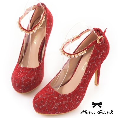 Mori girl水鑽繫帶滿版手工蕾絲高跟婚鞋 紅