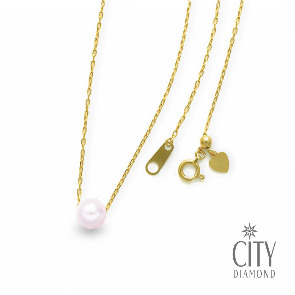 City Diamond【東京Yuki系列】18K日本AKOYA單顆珍珠8mm伸縮黃K項鍊
