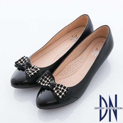 DN-典雅職場-異材質立體蝴蝶結飾低跟鞋-黑