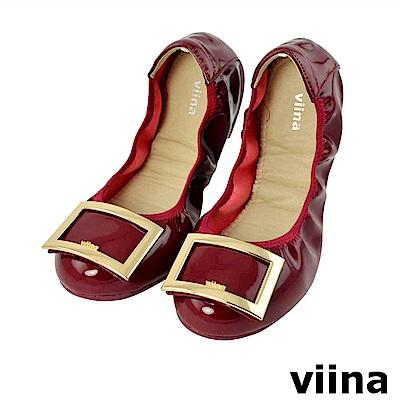 viina 質感金框亮面摺疊鞋-優雅酒紅