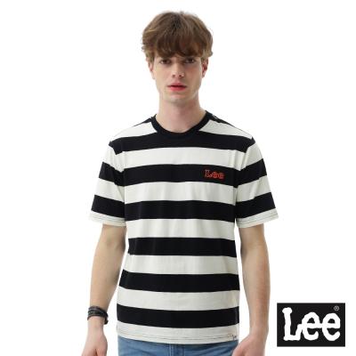 Lee 條紋小LOGO短袖圓領TEE/SMU-男款-米白