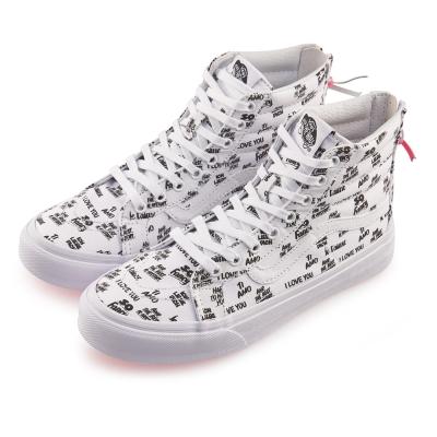 (女)VANS SK8-Hi Slim Zip 英文字母高筒休閒鞋*白色
