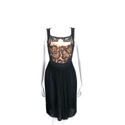 Maria Grazia Severi 黑色百摺拼接織花無袖洋裝