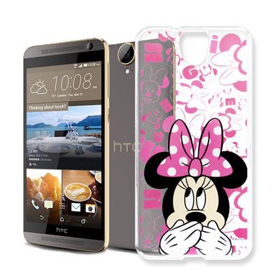 迪士尼 HTC One E9/E9+ 可共用大頭透明手機軟殼(摀嘴米妮)