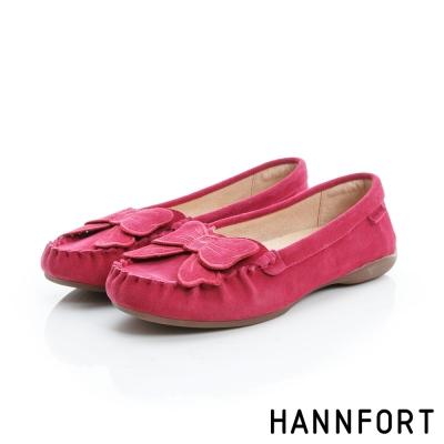 HANNFORT RIPPLE蝴蝶結真皮樂福鞋-女-甜美桃