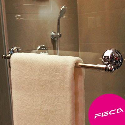 FECA非卡 無痕強力吸盤 不鏽鋼圓頭毛巾架(銀)
