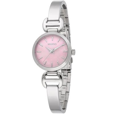 MANGO 扇貝之心不鏽鋼時尚腕錶-珍珠母貝粉/27mm
