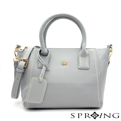 SPRING-微漾甜心車縫手提包-灰