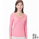 zuzai 自在發熱衣歸真系列女LACE長袖保暖衣-粉紅色