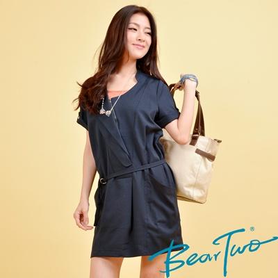 【BearTwo】開襟造型拉鍊兩件式洋裝 (深藍)