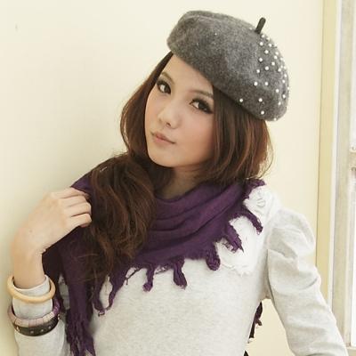 I-shi  暖呼呼~波西米亞三角圍巾(紫色)