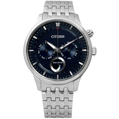 CITIZEN 雅緻文藝月相顯示光動能手錶(AP1050-56L)-藍色/42.5mm